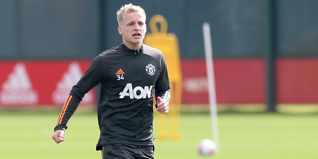 van de Beek en un entrenamiento con el United | Foto: Man United