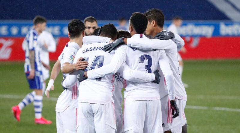 Piña del Real Madrid con los goles.